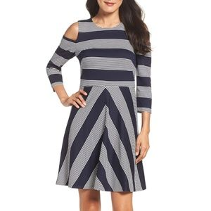 Eliza J Chevron Stripe Cold Shoulder Dress  Navy